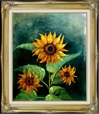 Framed Quality Hand Painted Oil Painting, Three Sunflowers, 20x24in