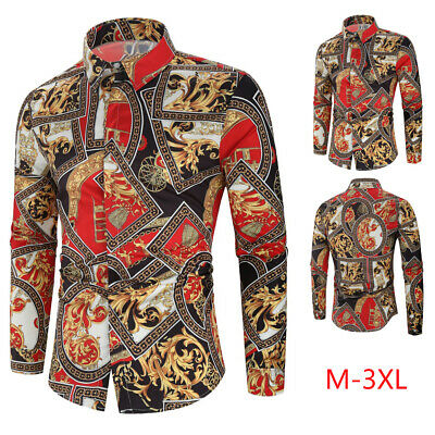 Mens Ethnic Retro Slim Fit Shirt Tops Long Sleeve Button Casual Party Blouse UK