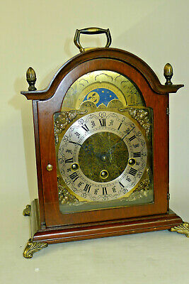 Nice HERMLE 8-day WALNUT WESTMINSTER CHIMING Bracket mantel clock MOONPHASE DIAL