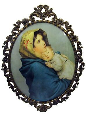 Italian Brass Frame Convex Bubble Glass Virgin Mary Baby Jesus 50s