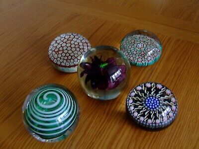 Job Lot Of Vintage Paper weight 1960's Inc Perthshire Langham Glass Murano