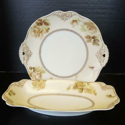 Silesia Old Ivory No. 84 Cake Plate & Celery Bowl