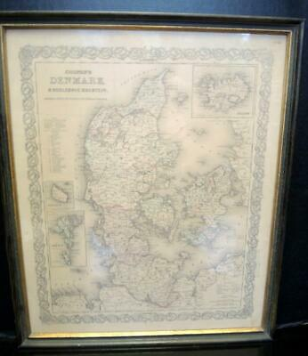 Framed Map of Denmark Dated 1855 Purchased From The Old Print Shop Boston