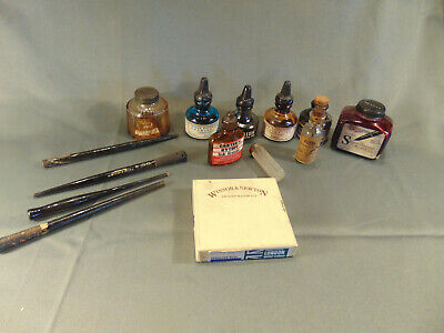 8 vintage ink bottles 9 metal nibs 4 wood pen holders Winsor & Newton artist art