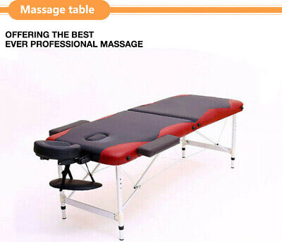"84""L Portable Aluminum 2 Fold Massage Table Facial SPA Bed with Carry Case"