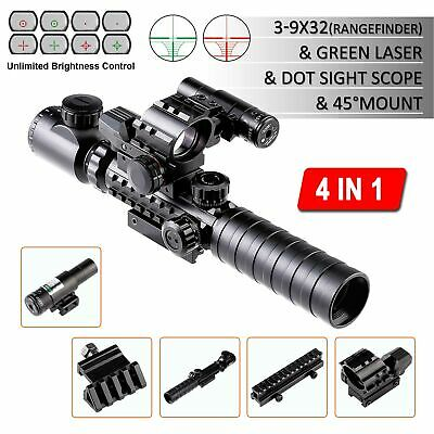4-in-1 Combo 3-9x32EG Tactical Optical Reticle Riflescope Rangefinder Newest.