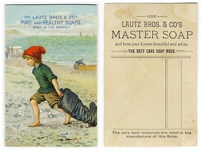 LAUTZ BROS SOAP Victorian Trade Card 1880's Little Boy at Beach with Big Boots