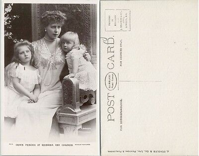 Antique Rppc Real Photo Postcard Crown Princess Marie Of Romania & Children