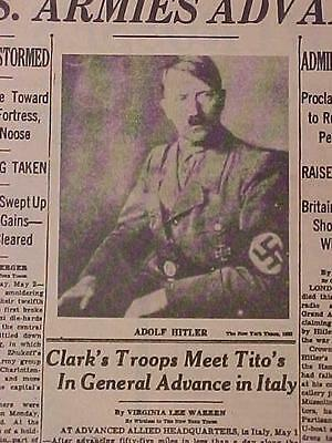Vintage Newspaper Headline ~World War Germany Nazis Army Death Hitler Dead Wwii