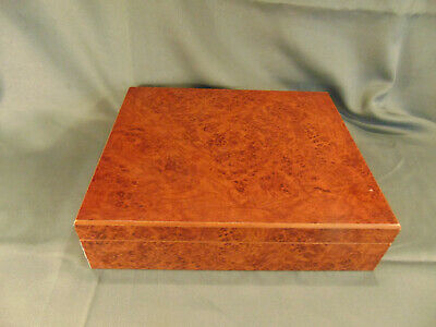 Vintage wood cigar storage box dehumidifer hygrometer cedar burled wood humidor