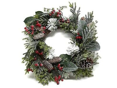 Artificial Snowy Pine Cone and Berry Wreath x 50cm - Christmas Decoration