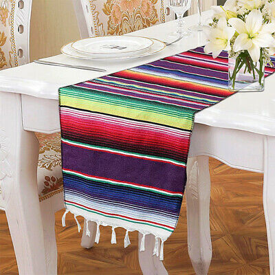 Mexican Serape Table Runner Party Birthday Blanket Cotton Tablecloth Cover Decor