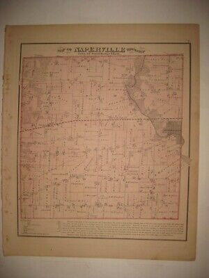Vintage Antique 1874 Naperville Township Dupage County Illinois Handcolored Map