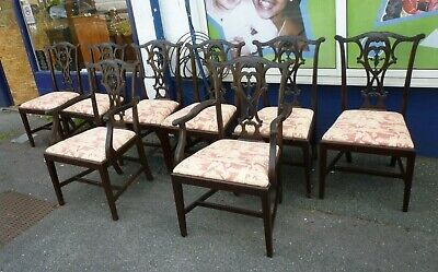 Set Of Eight Antique Mahogany Chippendale Style Dining Chairs Including Carvers