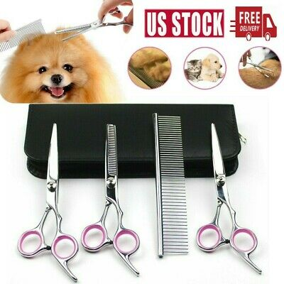"7""Professional Pet Dog Grooming Scissors Set Straight Curved Thinning Shears Kit"