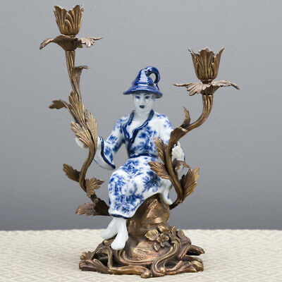 Oriental Chinoiserie Candlestick Candle Holder Porcelain Ormolu Boy Blue White