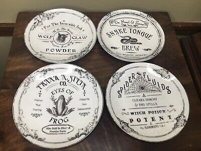 222fifth Hallow Apothecary Halloween  4 New Appetizer Dessert Plates