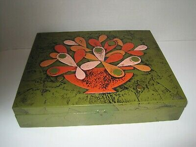 Rare Mid Century Modern Paper Mache Abstract Floral Trinket Glove Stationery Box