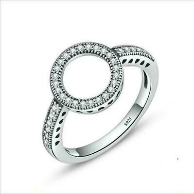 Jewelry Ring Fashion For Round Circle Clear Women 925 Finger Forever CZ Sterling