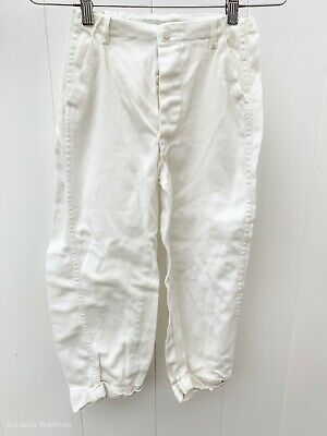 "Vintage 1930s Boys Pants White Cotton Button Fly Antique 24X20"" Cuffed Pants"