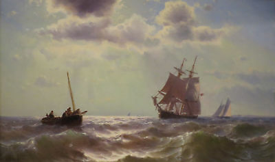 CULOP709 hand painted abstract sail boat sea ocean war oil painting art canvas