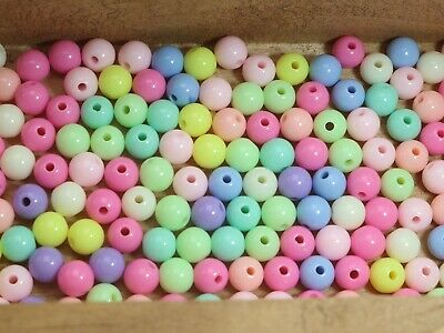 200 Mixed Pastel Color Acrylic Round Beads 8mm Smooth Ball Spacer