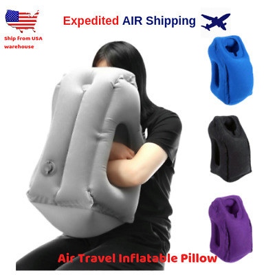 Air Travel Inflatable Pillow Airplane Neck Head Chin Cushion Office Nap Rest New