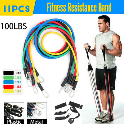 11 Resistance Band Exercise Heavy Duty Bands Tube Set Loop Power Cable Bands Gym