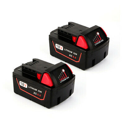 2 Replace Milwaukee 18V 6.0Ah Li-ion Battery  for M18 6.0 XC Red M18B 48-11-1860