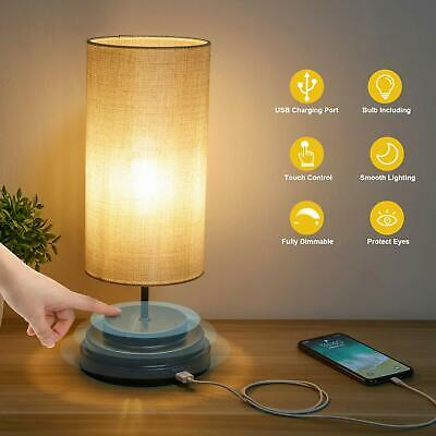 Touch Control Bedside LED Table Lamp Fully Dimmable USB Port Desk Lamp