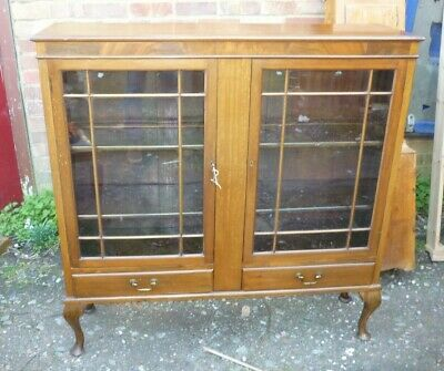 Antique Victorian Lockable Double Door Mahogany Glazed Bookcase Display Cabinet