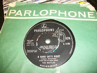 "THE BEATLES- HARD DAYS NIGHT VINYL 7"" 45RPM co 1960s"