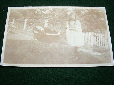 Antique Photograph Little Girl Pet Dog In Victorian Pram Annotated Reverse