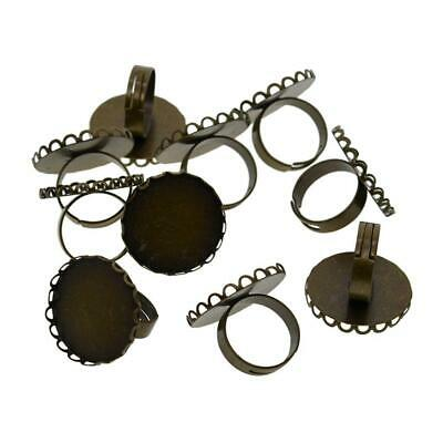 Adjustable Y shaped Ring Blank Bezel Setting Tray for Cameo Cabochons Antique HG