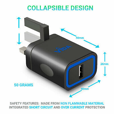 12W Mains Charger Micro USB Type C Lightning Cable Foldable 3-Pin Plug For Phone