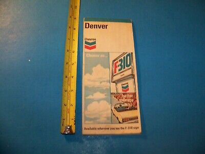 """Denver Map  from Chevron Oil Company   Vintage  1973    """"Great For Framing!"""""""