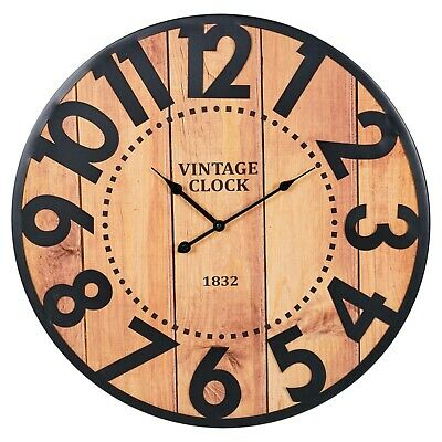 60cm Vintage Wood Metal Giant Industrial Wall Modern Large Numbers Retro Clock