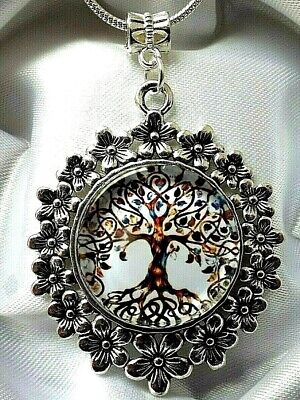 Tree Of Life Healing Spiritual Flower Necklace Gift Box 22 Inch Silver Chain