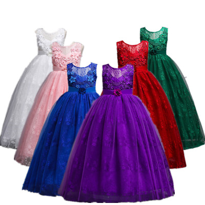 Xmas girl princess party dress for kids Long Gown Flower Girl Wedding Dress