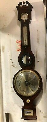 Good 19th Century Mahogany Banjo Barometer Formaly In Alderley House Gloucester