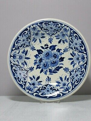 Vintage Dutch Oud Delft Blue & White Wall Hanging Plate Floral Decoration