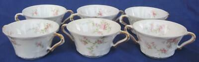 "Theodore Haviland Schleiger 603-10 Limoges 6 Soup Cups 2 Handles 4"" Pink Flowers"