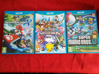 lot 3 jeux wiiu wii u version francaise mario kart super smash et new mario