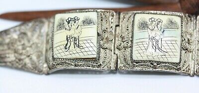 """Antique 1890's Chinese Sterling Silver Export Women's Painted Panel Bracelet 7"""""""