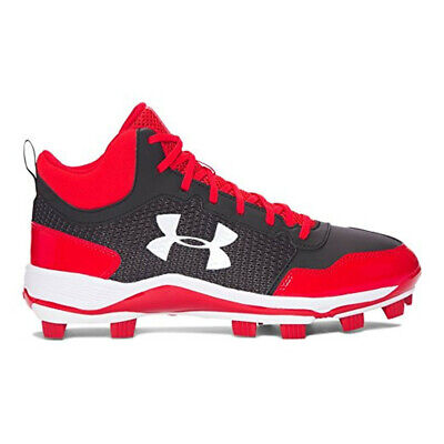 NEW Youth Under Armour Heater Mid TPU JR Baseball Cleats Red/Black-Pick Size
