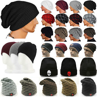 Unisex Mens Ladies Kniteted Slouch Beanie Hat Winter Warm Wooly Ski Skull Cap