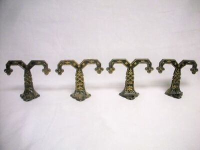 4 Antique Cast Iron Eastlake Double COAT HOOKS Old Victorian Wall Hardware Set