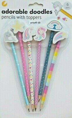 Adorable Doodle Stationary Set~6~Pencils~With~Erasers~Stationary~Back To School