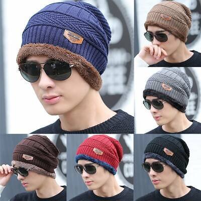 Men Women Winter Beanie Hat Fleece Warm Balaclava Snow Ski Knitted Caps Outdoor