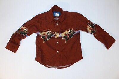 Kids VTG Western Wrangler Pearl Snap Buttons Bull Riding Long Sleeve Dress Shirt